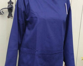 Artist's smock in dark blue cotton twill, available in sizes Medium & Large