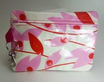 Floral Laminated Zipper Bag - Small Wet Bag - Oilcloth - Cosmetic Bag - Makeup Bag - Travel Bag - Pencil Case - Pink - Lined