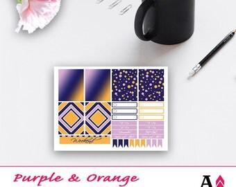 Purple + Orange Geometric Mini Kit of Planner Stickers