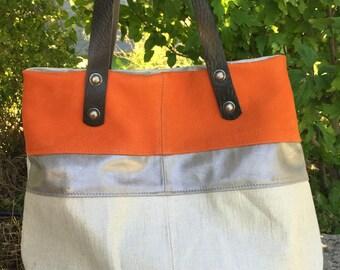 Handbag beige and orange (leather and fabric)