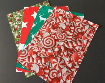 300 10x13 Designer CHRISTMAS Poly Mailers 75 Each Deer Hollyberry Stars Candy Canes Envelopes Shipping Bags Christmas