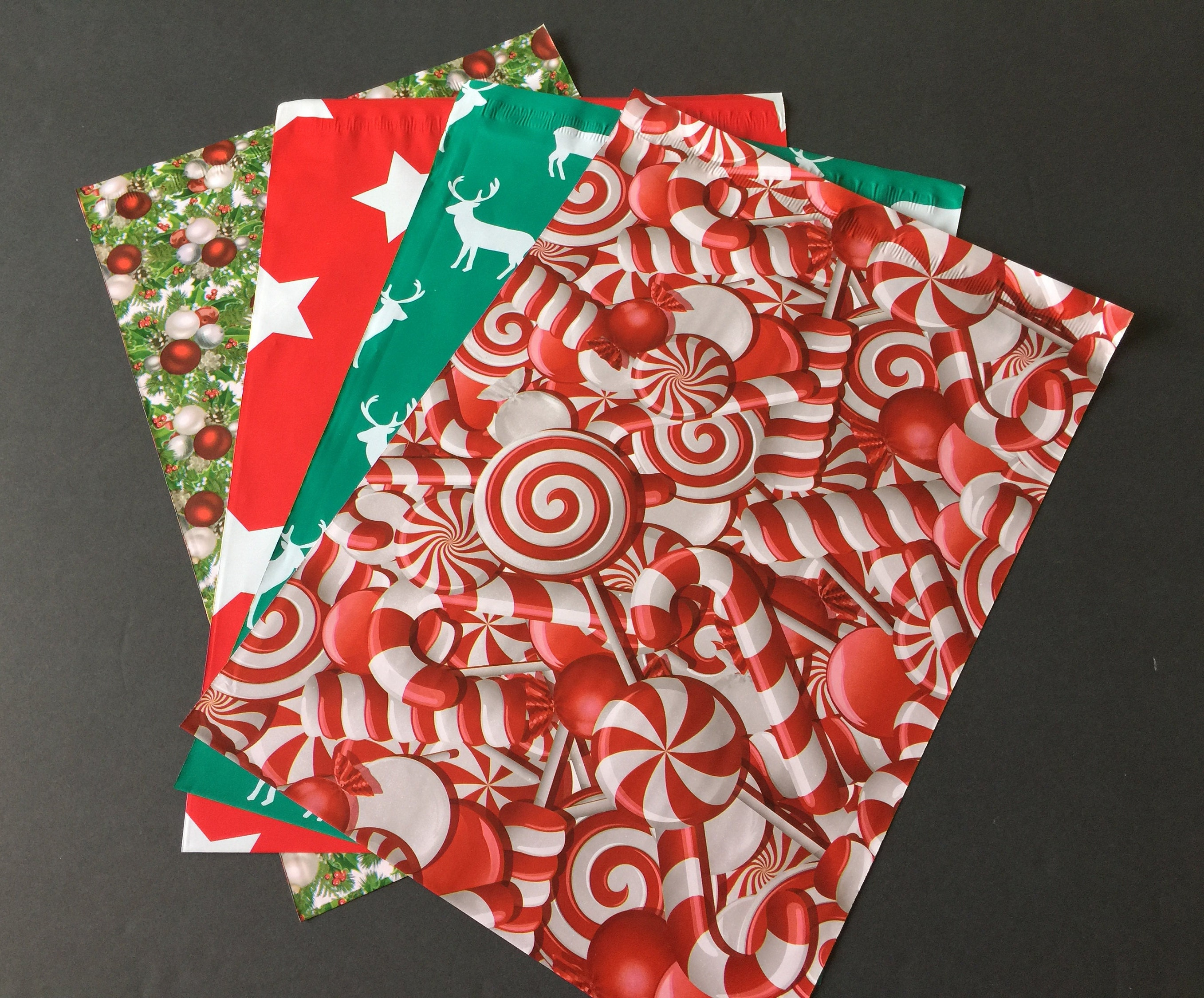 100 REDUCED 10x13 Designer CHRISTMAS Poly Mailers 25 Each Deer