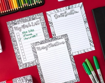 DIY Christmas Stationery - Letters to Santa, Christmas Wishlist & Christmas Letter Templates - Printable PDF Download - Xmas Coloring pages