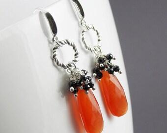 Modern artisan earrings, one of a kind jewelry, silver and gemstone earrings, boho jewelry, Mexican Fire Opal Quartz earrings, long earrings