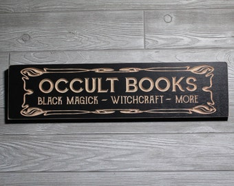 Occult Books Wooden Sign   Home Library   Black Magic Witchcraft   Antique Vintage Style Carved