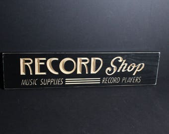 Vintage Style Record Shop Sign | Carved Wooden Vinyl Record Store | Collectors Music Fans Retro