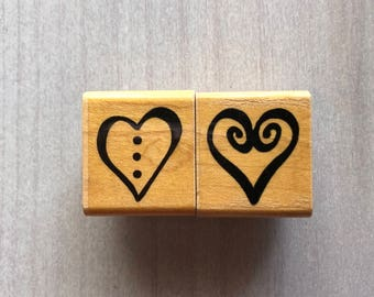 His and Hers Hearts Rubber Stamp