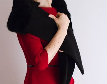 Real Fur Scarf, Fur Shoulder Wrap, Real Fur Stole, Fur Cover Up, Fur Wrap, Black Fur Scarf, Long Scarf, Fur and Wool Scarf