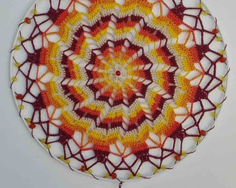 Decorative Mandala, handmade in crochet, cotton, for walls and ceiling, cheerful, colorful, craftsman, energy harmonizer and vegan.
