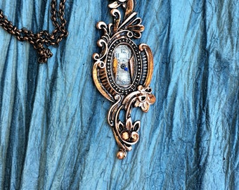 Steampunk Keyhole Watch Necklace, Steampunk Jewelry, Vintage Watch Face, Unique Necklace, Women's Gift, One of a Kind, Crystal Necklace