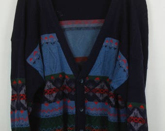 Vintage Cardigan, Vintage Knitwear, 80s, 90s, blue, oversized, with wool