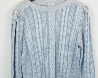 Vintage Sweater, Vintage Knit Pullover, 80s, 90s, baby blue, oversized look