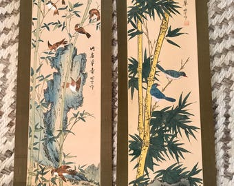 Pair of antique Chinese Chinoiserie Asian scroll panels-hand painted-never used-original boxes