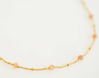 Gemstone Satellite Chain Necklace, Ultra Dainty Genuine Gemstone Chain Necklace in 14k Gold Fill, Sterling Silver, Rose Golf Fill