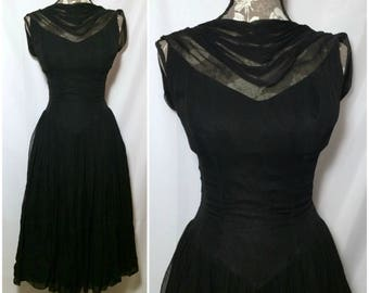 Vintage 1950s Black Chiffon Ballerina Dress // XS-S