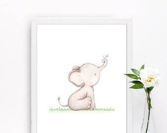 Elephant print, Nursery decor, Elephant wall art, Baby animal art, Nursery prints, Watercolor Elephant