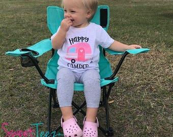 Happy camper Shirt Camping Shirt Toddler Hipster Shirt Camper Girl Baby Youth