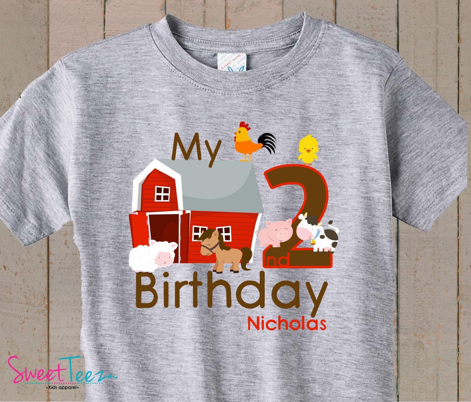 Birthday Shirt Farm Animals My Second Personalized Tshirt Boy Heather Girl Barn Cow