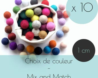 10 Felt balls/1 cm/wool pompom/DIY/bulk/choice of color/multicolor/felting/wholesale/creative project/Québec/Canada