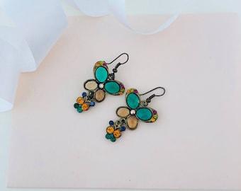 Butterfly Earrings - Colourful Earrings - Insect Earrings - Butterfly Earrings - Butterflies - Rhinestone Earrings - Dangle Earrings - Gift