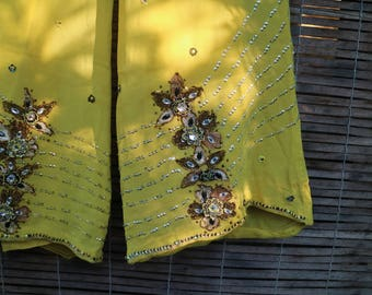 Bejewelled Disco Diva Yellow Highwaisted Flares
