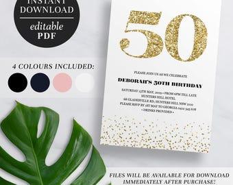 Printable 50th Birthday Invitation Gold Glitter   Editable Template   Glitter   50   Fifty   50th Birthday Invite   Navy   Pink   Black