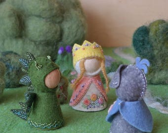 Princess, Dragon and Knight Waldorf inspired pegdoll set in felt clothes