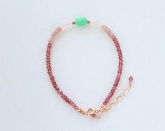 Chrysoprase, garnet, spinel, rose quartz beaded bracelet with rose gold filled accents, ombre gemstone bracelet, delicate stacking bracelet