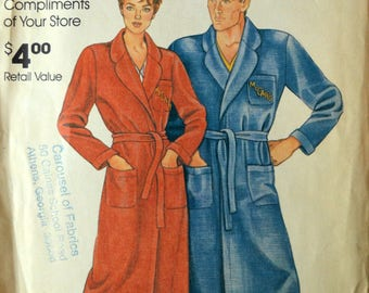 Uncut 1980s McCall's Vintage Sewing Pattern 0011, Size S-XL; Misses' and Men's Robe
