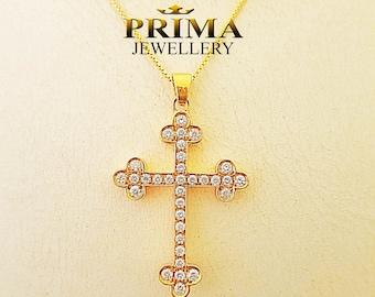 Gold cross necklace,handmade cross necklace,yellow gold cross pendant,diamond cross,diamond cross pendant
