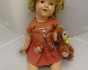 """18""""  All Org Vintage Shirley Temple Doll, Plus Clothes, Books, Ect. Minty"""