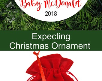 Snowman Anxiously Awaiting Baby - Expecting Ornament - Baby Deer We're Expecting Christmas Ornament - Birth Announcement Ornament