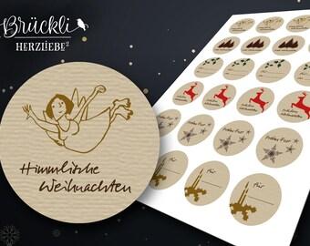 24 Christmas sticker / Christmas greetings / Weihnachstwünsche / gift stickers