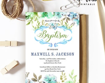 Leaves Baptism Invitation | Christening | 5x7 | Editable PDF | Instant Download | Personalize at home with Adobe Reader