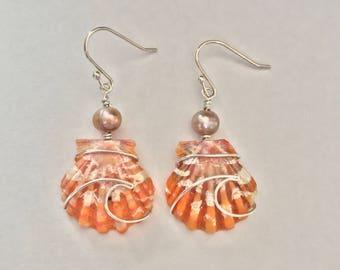 Ocean Wave Wire Wrapped Sunrise Shell Earrings; .925 sterling silver; Boho; Seashell