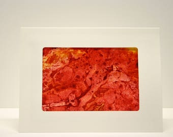 Paper Handmade greeting card abstract art. blank greeting card,envelope, art collectable alcohol ink red yellow orange one of a kind