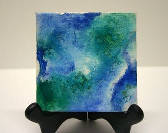 Canvas Tile art Abstract Alcohol Painted art Desk art Office decor modern contemporary small unique gift for him her accent art