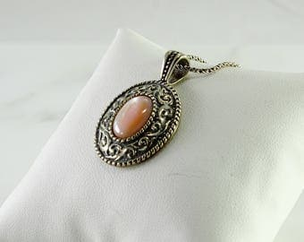 "Pink Stone Sterling Pendant 18"" Sterling Chain"