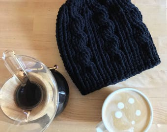 Cable Beanie Hat, Slouchy Cable Beanie, Cable Hat, Cable Beanie, Slouchy Hat, Beanie Hat, Black Slouchy Beanie, Black Slouchy Hat, Black Hat