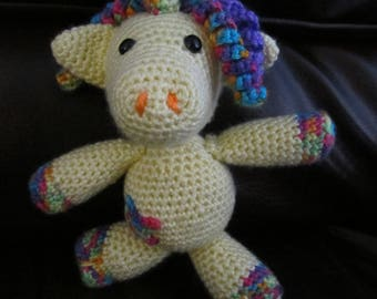 Handmade, Crocheted Rainbow Unicorn