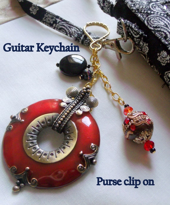 Red enamel boho guitar key chain - glitz bead- black red purse clip- backpack accessory - music student gift - fire red charm - unique  gift