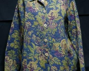 Vintage Blue Floral Tapestry Jacket