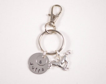 Hand Stamped School Pride Keychain - Team Gift - Volleyball - Softball - Soccer - Basketball - Mustangs Stallions Personalized  - Graduation