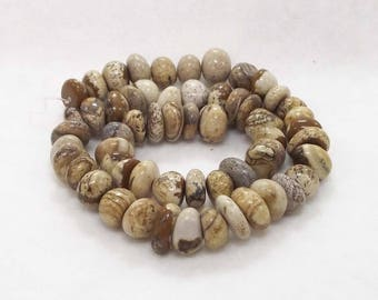 Beautiful, Polished Natural Picture Jasper Beads - Approximately 8x12mm With 1mm Hole