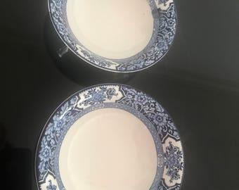 Pair of Vintage Wood & Sons Bowls - Blue and White Khotan Design