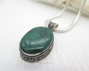 Antique Malachite Sterling Silver Pendant and Chain