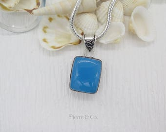 Square shape antique Chalcedony Sterling Silver Pendant and Chain