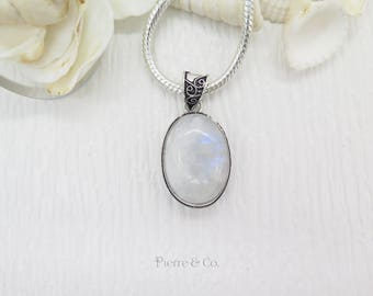 Filigree Setting Rainbow Moonstone Sterling Silver Pendant and Chain