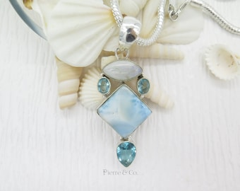 Moonstone Larimar and Blue Topaz Sterling Silver Pendant and Chain