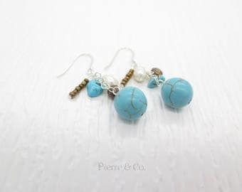 Turquoise Fresh water pearls Sterling Silver dangle Earrings